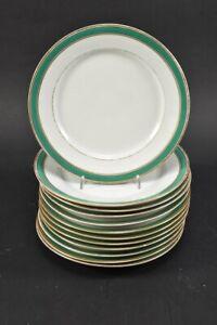 h18a03- 12x Porzellan Kuchenteller mit grünem Rand u. Golddekor