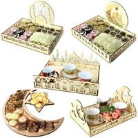 Muslim Wooden Eid Mubarak Ramadan Table Decor Dessert Pastry Party Serving Tray