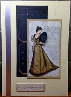 Luxury Handmade Personalised Large A4 BIRTHDAY CARD Victorian Lady At The Ball