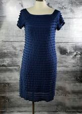 Jessica Layered Ruffle Made in Canada Fitted Dress Square Neckline Blue Sz 6