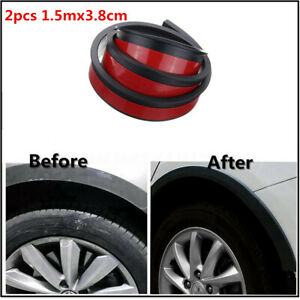 2Pcs 150cm Rubber Car Fender Flare Extension Wheel Eyebrow Moulding Stickers