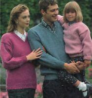 "Easy Knit Sweater V-neck Knitting Pattern Chunky Aran DK 4ply 24-46"" 1138"