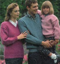 7331ac82042e04 Easy Knit Sweater V-neck Knitting Pattern Chunky Aran DK 4ply 24-46