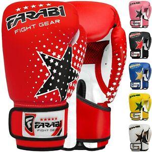 Farabi Kids Boxing Gloves 6-oz Sparring MMA Training Muay Thai Gloves 5-12 year