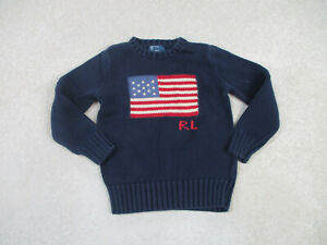 VINTAGE Ralph Lauren Polo Sweater Youth Small Blue Red Flag Pullover Boy Kid A33