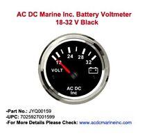 Marine 24 voltmeter Gauge 18-32V #Boat Battery Voltage Chrome Bezel Gauge #Black