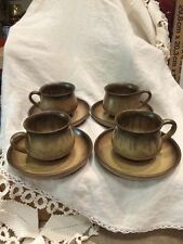 Denby Romany Brown Stoneware Set of (4) Teacups and Saucers Made in England