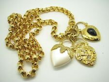 JOAN RIVERS Gold ROLO CHAIN NECKLACE Puffy Heart CHARM PENDANT Pearl CRYSTALS
