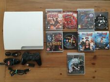 WHITE PLAYSTATION 3 PS3 320GB SLIM CONSOLE BUNDLE + 5 GAMES **TESTED - FREE P&P