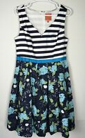 NWOT ModCloth Navy Teal Floral Fit and Flare Dress Womens Size L