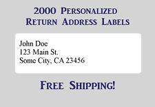 2000 Printed Personalized Return Address Labels - 1/2 x 1 3/4 Inch