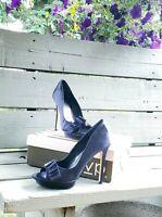 "Excellent condition RSVP ""Olive"" Navy Satin Peep Toe Heels Women's size 8 M"