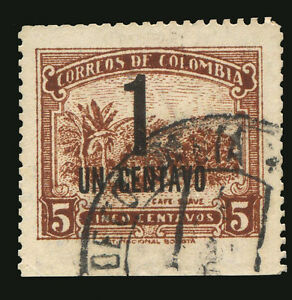 COLOMBIA Yv# 398 Used ERROR bottom side imperforated