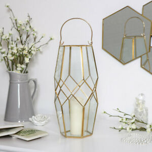 Tall gold candle lantern holder geometric vase decorative display vintage gift