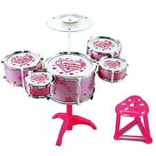 Pink Rock Drum Kit Childrens Cymbal Music Percussion Playset Stool Toy Xmas Gift