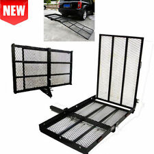 "48"" x 28"" Foldable Hitch Mount Towing Wheel Chair Scooter Carrier Rack with Ramp"