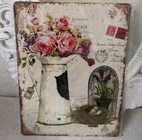Blechschild Wandbild Bild  Roses Shabby Retro Vintage 33x25cm