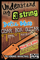 Cigar Box How to Play guitar Lessons DVD Slide / dobro & 3 string Resonator
