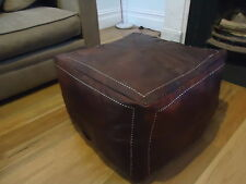 Large Moroccan Leather Ottoman Pouffe Pouf Footstool Coffee Table in Dark Tan