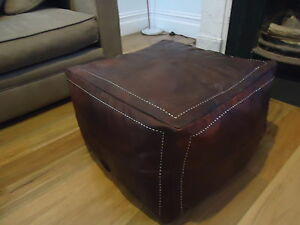 60cm x 60cm Moroccan Leather Ottoman Pouffe Pouf Footstool Coffee Table Dark Tan