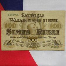 Latvia 1919 100-Rubles Bill/Banknote ~ Latvian, Simts Rubli