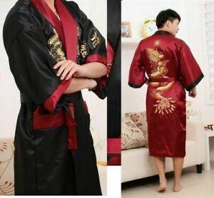 Men Ms Retro Double bathrobe Kimono Embroidery Dragon Dressing Gown Ms.Bath Robe