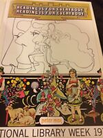 Rare Peter Max Apollo Pop Op Psychedelic Art Poster Reading Library Week Read