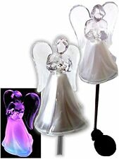 Set of 2 Solar Powered Angel Frosted Skirt Garden Stake Color Change LED Light