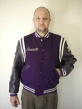 "Vtg Butwin Wool Leather Purple Varsity Collegiate Letterman Jacket 44 ""Russell"""