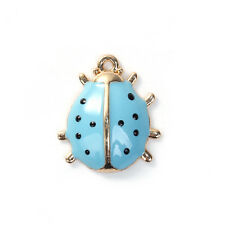 Blue Enamel Ladybug Charm, 17x15mm, Jewelry Making Supplies, Charms
