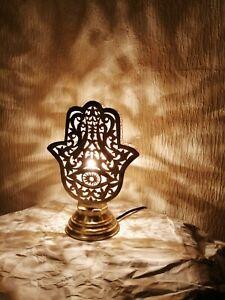 Moroccan night light Table lamp Hamsa Khamsa brass decoration lighting Lampshade