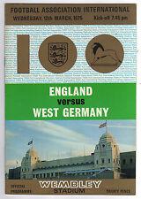 PRG   12.03.1975   ENGLAND - DEUTSCHLAND  ! 100.Spiel !