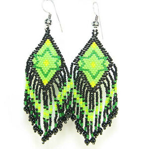 NEW BLACK GREEN NATIVE STYLE BEADED HANDCRAFTED HOOK FASHION EARRINGS E14/6