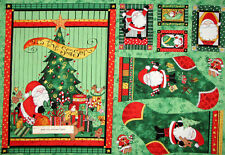 Here Comes Santa Claus Christmas Stocking Ornament Cotton Fabric Trimmed PANEL
