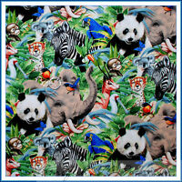 BonEful Fabric FQ Cotton Quilt US Jungle Elephant Panda Giraffe Zebra Koala Bear