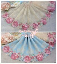 "7.5""*1Y Embroidered Tulle Lace Trim~Warm Beige+Light Green+Pink~Smiling Roses~"