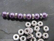 20 Metallperlen silberfarben, 8x3 mm Spacer, Zwischenperle, Perlen basteln