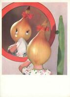 LARGE ROX-KARTE ONION GIRL CRYING in front of MIRROR POSTCARD - ORIGINAL UNUSED