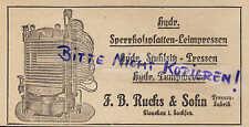 GLAUCHAU, Werbung 1922, F.B. Rucks & Sohn Pressen-Fabrik hydr. Sperrholz-Platten