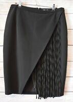 Ever New Melbourne Skirt Pencil Straight Size 12 Medium Black Fringed Tulip Hem