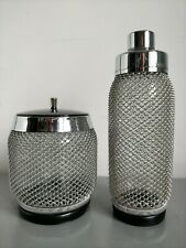 More details for mid century glass wire mesh cocktail shaker & ice bucket by merkuria kovocas