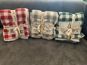 RAE DUNN Christmas Bundle BUFFALO CHECK SHERPA THROW BLANKETS 3 PC SET. New!