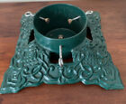 Vintage Heavy Cast Iron Christmas Tree Stand Holder green