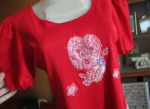 MEDIUM TRASHED RELIC HANDMADE CREEPY LION PATCHED True Vtg 70s T-shirt Top