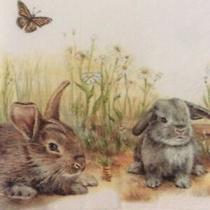 paper napkins decoupage x 2 bunny & Clyde 21cm
