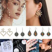 Charm Geometric Pearl Crystal Ear Hook Earrings Dangle Wedding Party Women Gift