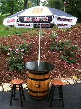 OLD WHISKEY BARREL PUB TABLE, PATIO TABLE, BISTRO TABLE, JACK DANIELS JIM BEAM