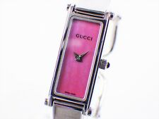 Authentic GUCCI Watch Bangle wrist 1500L Women's Silve Plated Vintage