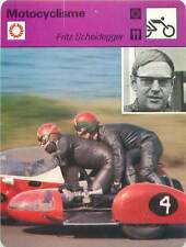 FICHE CARD:Fritz Scheidegger Suisse Motorcycle Sidecar racer MOTORCYCLING 1970s