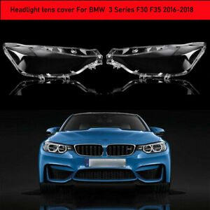 Pair LED Headlight Headlamp Lens Cover For BMW F30 F31 3 Series 2016 2017 2018